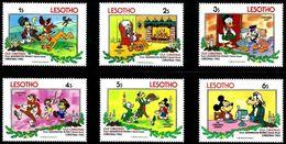 Lesotho 1983 Christmas Disney Mickey Goofy Donald Duck Cartoon Animation Art Childhood Stamps (5) MNH SC 412-419 - Childhood & Youth