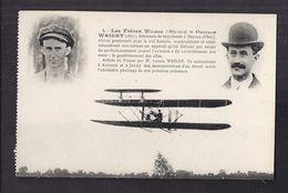 CPA AVIATION - AVIATEURS - Frères WILBUR + WRIGHT - AVION + TB Portraits En Médaillon - LIGUE Aéronautique De FRANCE - Aviateurs
