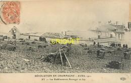 51 Ay, Révolution En Champagne 1911, Les Etablissements Bissinger En Feu - Ay En Champagne