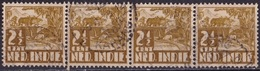 Ned. Indië: Langebalkstempel TANDJONG-KARANG (802) Op 1934-37 Karbouw 2½ Ct Sepia NVPH 188 Strip Van 4 - Indes Néerlandaises