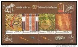 India 2009 Traditional Indian Textile Silk Sarees Embroidery Art Handicraft Weaving Bird Peacock M/s MNH Inde Indien - Textile