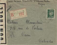 1944- Env. RECC. Affr. Pétain 4,50 SEUL Oblit. R A U   ANGERS - C  + Censure Française - Marcophilie (Lettres)