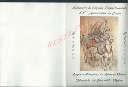 MENU ILLUSTÉE MELUN 1990 SAPEURS POMPIERS 77 XXeme ANNIVERSAIRE DU CORPS BANQUET OFFICIEL : - Menus