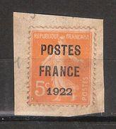 PREO Préoblitérés, Yvert N° 30, 5 C Orange Surchargé POSTES FRANCE 1922 , Sur Fragment, TB - Vorausentwertungen