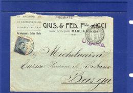 ##(003)POSTAL HISTORY - Italia- 1914 - Busta Intestata Cartiere  Gius.& Fed. Flli. Ricci-Marlia -  Lucca Per Barga - Marcophilia