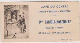 60  Sully Cafe Du Centre Carton Publicitaire Larible-horcholle - France