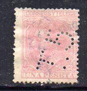 T818 - SPAGNA 1879 PERFIN PERFINS , 1 Peseta  Usato . - 1875-1882 Regno: Alfonso XII