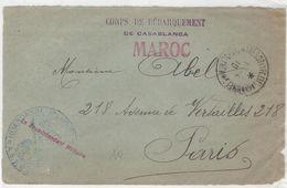 MAROC 1910- CORPS DE DEBARQUEMENT DE CASABLANCA + Cachet Bleu  INTENDANCE MILITAIRE A.S.P.M. ...sur Devant De Lettre Voi - Poststempel (Briefe)
