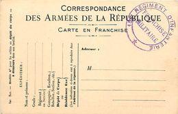- Ref-610- Guerre 1914-18 - Carte Franchise Militaire - Cachet 156e Regiment Dinfanterie - Regiments - - Guerre 1939-45