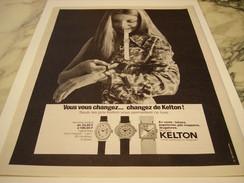 ANCIENNE PUBLICITE MONTRE KELTON  1970 - Bijoux & Horlogerie
