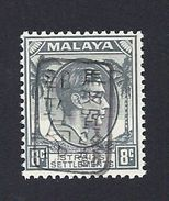 JAPANESE OCCUPATION MALAYA MALAISIE 1942 OVPT BLACK KING GEORG VI STRAITS SETTLEMENT BUREAU MILITAIRE MICHEL 12b ** - Occupation Japonaise