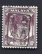 JAPANESE OCCUPATION MALAYA MALAISIE 1942 OVPT BLACK KING GEORG VI STRAITS SETTLEMENT BUREAU MILITAIRE MICHEL 13b ** - Japanese Occupation