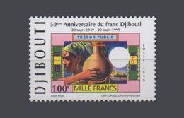 DJIBOUTI ANNIVERSAIRE FRANC DJIBOUTIEN DJIBOUTIAN FRANC 50TH ANNIVERSARY Michel Mi 677 1999  RARE - Djibouti (1977-...)