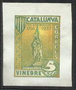 SPAIN ESPAÑA SPAGNA 1937 Viñeta Local CATALUNVA VINEBRE (Barcelona) 5 Cts. MNH - Vignette Della Guerra Civile