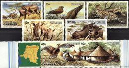ZAIRE, 1984, FAUNA, GARAMBA'S PARK, YV#1146-53, MNH - Rhinozerosse