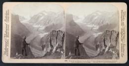 Photo Stéréoscopique STEREO Stereoview - Ice River - Fiescher Glacier And Oberaarhorn Lauteraarhorn - Switzerland Suisse - Photos Stéréoscopiques