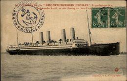 50 - CHERBOURG - Paquebot LE KRONPRINZESSIN - Transatlantique - Bateau - Beau Cachet Marine Française Service à La Mer - Cherbourg