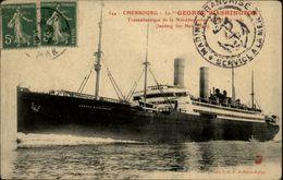 50 - CHERBOURG - Paquebot LE GEORGE WASHINGTON- Transatlantique - Bateau - Beau Cachet Marine Française Service à La Mer - Cherbourg