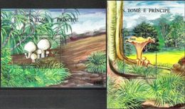 SAO TOME AND PRINCIPE, 1995, FLORA, MUSHROOMS, R#B.357-58; YV#B.163K-L, MNH - Champignons