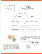 21 Boussenois - Généalogie - Extrait Acte De Naissance En 1932 - Timbre Fiscal - VPAN 2 - Nacimiento & Bautizo