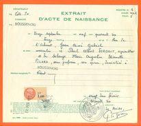 21 Boussenois - Généalogie - Extrait Acte De Naissance En 1946 - Timbre Fiscal - VPAN 2 - Nacimiento & Bautizo
