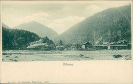 AK Oberau Bei Oberammergau, Teilansicht Mit Bahnstrecke/Bahnhof, Um 1900 (21175) - Andere