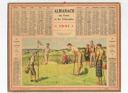 """SPORT GOLF > Illustration De JL BEUZUN 1941 Calendrier Almanach Des PTT  > Joueurs De Golf """"l'arrivée Au But"""" - Vieux Papiers"""