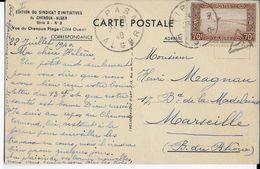 ALGERIE - 1940 - CARTE De TIPASA (IND 5) Avec TAXE => MARSEILLE - Lettres & Documents
