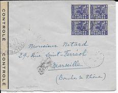 ALGERIE - 1941 - BLOC De 4 Sur ENVELOPPE De MILA (CONSTANTINE) Avec CENSURE => MARSEILLE - Lettres & Documents