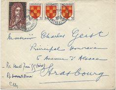 LETTRE 1955 AVEC 4 TIMBRES AUX TYPES BLASONS/SAINT SIMON - Marcophilie (Lettres)