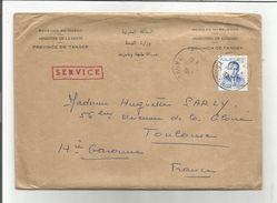 MAROC TANGER LETTRE OFFICIELLE POUR LA FRANCE 1960 - Marruecos (1956-...)