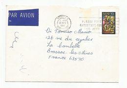 AUSTRALIE LETTRE AVION DE MOONAH POUR LA FRANCE 1984 - 1980-89 Elizabeth II