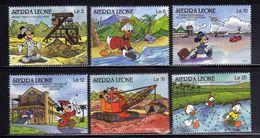 Sierra Leone 1990 Disney Mickey Cartoon Childhood Mining Gold Mineral Work Life Rice Art Film Stamps (49) MNH SC 1194-99 - Minerals