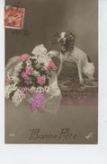 CHIENS - DOG - Jolie Carte Fantaisie Chien Avec Fleurs - Hunde