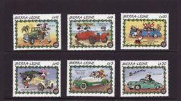 Sierra Leone 1989 Mickey Disney Cartoon Animation Car Motor Childhood Art Cinema Film Stamps (50) MNH SC 1147-52 - Childhood & Youth