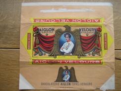 Emballage Superbement Illustré Chocolat AIGLON CHOCOLATERIE S.P.R.L. VERVIERS -Tablette 175 Grs AIGLON VELOURS - Cioccolato