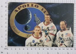 APOLLO 14 CREW (ALAN SHEPARD STUART ROSSA EDGAR MITCHELL) - Vintage PHOTO POSTCARD (AT-36) - Astronomy