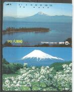 Mont Fuji Au Japon, 2 Telecartes Japon - Vulkane