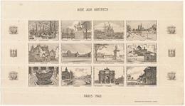 Aide Aux Artistes, PARIS 1942 - Planche De 12 Vignettes - Turismo (Vignette)
