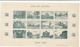 Aide Aux Artistes, PARIS 1942 - Planche De 12 Vignettes - Erinnophilie