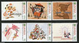 Guyana 1989 Christmas Disney Mickey Pluto Donald Duck Cartoon Animation Art Childhood Greeting Celebrations Stamps (17) - Childhood & Youth