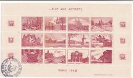 Aide Aux Artistes, PARIS 1942 - Planche De 12 Vignettes - Cachet Exposition Philatélique 1941 - Erinnophilie