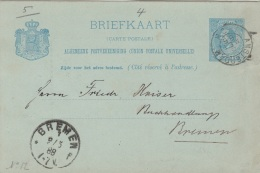 NEDERLAND 1888 - 5 C Ganzsache Postaal Gebruikt 1888, Amsterdam - Bremen - 1852-1890 (Wilhelm III.)