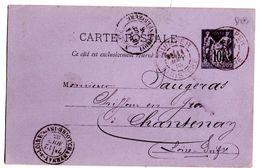 CP De Quimper (11.08.1885) Pour Chantenay Via Nantes - Cartes Postales Types Et TSC (avant 1995)