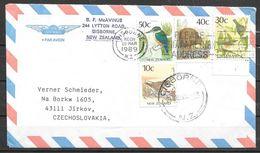 1989 Gisborne (28 Mar), 4 Different Bird Stamps, To Czechoslovakia - New Zealand