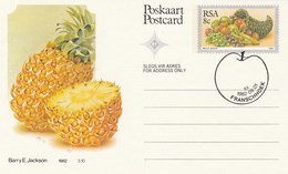 1982 First Day  8c SOUTH AFRICA Postal STATIONERY CARD Illus PINEAPPLE FRUIT Cover Stamps Rsa Grapes  Banana - Fruits