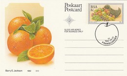 1982 First Day 8c SOUTH AFRICA Postal STATIONERY CARD Illus ORANGES FRUIT Cover Stamps Rsa Grapes  Banana - Fruits