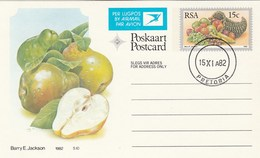 1982 First Day 8c SOUTH AFRICA Postal STATIONERY CARD Illus PEAR FRUIT Cover Stamps Rsa Grapes  Banana - Fruits