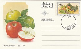 1982 First Day 8c SOUTH AFRICA  Postal STATIONERY CARD Illus APPLE FRUIT Cover Stamps Rsa Grapes  Banana - Fruits