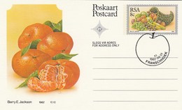 1982 First Day 8c SOUTH AFRICA Postal STATIONERY CARD Illus MANDARIN Orange FRUIT Cover Stamps Rsa Grapes Banana - Fruits